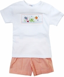 "Silly Goose Smocked ""Under the Sea"" Boy's Short Set."