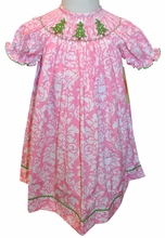 Smocked Christmas Trees Dress in Candy Pink Damask