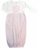 Sugarbugs Closet Personalized Infant Girl's Gown in Pink Seersucker