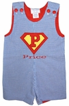 Superman Applique Initial or Number and Name John John or Longall