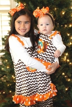 Girl's Monogrammed Thanksgiving Turkey Dress or Outfit