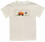 Boy's Smocked Sports Shirt with Football & Baseball by Vive La Fete