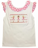 Vive La Fete Girl's Smocked Ballerina Shirt with Tulle Skirts