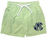 Monogrammed Boy's Green Seersucker Swimsuit by Vive La Fete