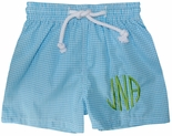 Vive La Fete Monogrammable Boy's Turquoise Gingham Swimsuit
