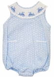 Girl's Smocked Bubble with Little Whales on Blue Dots By Vive La Fete.