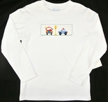 Vive Le Fete Smocked Boy's Police Car and Fire Engine Shirt