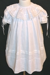 Girl's Heirloom Round Collar Dress in White with White Lace and Ribbon