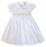 White Smocked Dress with Ecru Pearls and Back Sash