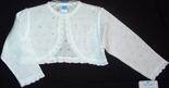 Girl's Bolero Sweater in White with Cutwork by Will'Beth