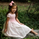 Will'Beth Smocked Dress for Girls in Pink or Blue with Short Sleeves