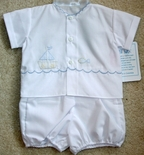 Will'Beth Baby Boy's Sailboat And Fish Diaper Layette Set.