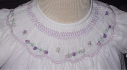 Will'beth Smocked Dress in Lavender with White Fabric Overlay