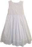 Will'Beth Older Girls White Dress with Criss Cross Pin Tucks and Rosettes
