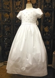 Will'Beth Girl's White Dress with Pin Tucks and Rosettes for First Communion, Confirmation and Graduation