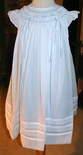 Will'Beth Smocked Blue with White Overlay and Satin Ribbon Dress