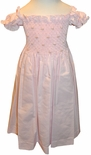 Will'Beth Smocked Dress for Girls in Pink with Short Sleeves