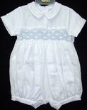 Will'Beth Boy's Bubble in White with Blue Accents.