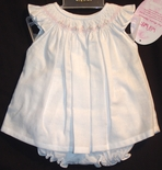 Will'Beth Smocked Dress and Bloomers for Girls in White, Pink Embroidery