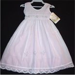 Will'Beth Smocked Dress in Pink with White Overlay and Tatting Lace