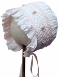 Will'Beth Girl's Bonnet in White Smocked in Pink by Will'Beth