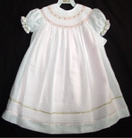 Willbeth Girl's Dress in Pink with White Overlay and Ribbons