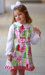 Custom Girl's Sash Tie Back Dress, Michael Miller Yule Trees.