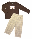 Zuccini Boy's Smocked boy Scouts/Camping Long Sleeve Shirt and Pants Outfit