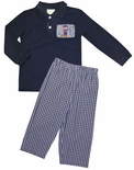Zuccini Boy's Smocked Cowboy Long Sleeve Shirt and Pants Outfit