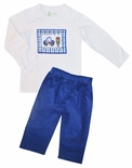 Zuccini Boy's Smocked Police Long Sleeve Shirt and Pants Outfit