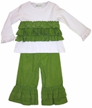 Zuccini Girl's Pants Outfit in Lime Green Corduroy with Ruffles