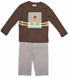 Zuccini Boy's Outfit with Front & Back Appliqued Horse Shirt and Pants
