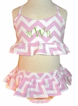 Zuccini Girl's Pink Chevron 2 Piece Monogrammable Swimsuit