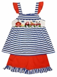 Zuccini Girl's Smocked Farm Scene Shorts Set