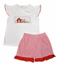 Zuccini Girl's Smocked Red Trimmed Ruffle Sleeve Shirt and Red Gingham Shorts Set