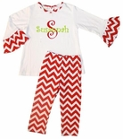 Zuccini Girl's White Monogram or Applique Bell Sleeve Shirt and Red Chevron Pants