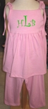 Girl's Monogrammed Outfit in Pink with Shoulder Ties by Zuccini