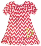Zuccini Monogrammable Hot Pink Chevron Dress