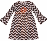 Zuccini Monogrammed Dress for Girls in Brown Chevron