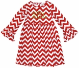 Zuccini Monogrammed Chevron Dress for Girls in Red