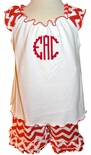 Zuccini Monogrammed Red Chevron Shorts Set for Girls