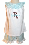 Monogrammed Turquoise Seersucker Shorts Set for Girls by Zuccini.