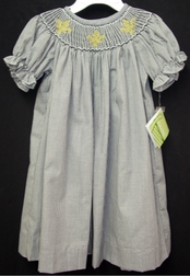 Girl's  Smocked Dress with Saints, Fleur De Lis by Zuccini