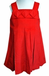 Zuccini Christmas Dress in Red Corduroy with Pleated Neck