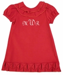 Zuccini Girl's Dress with Pleated Hem in Red or Hot Pink Corduroy