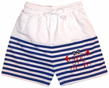 Zuccini Royal Boy's Monogrammable Royal Blue and Whte Swim Suit