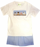 Zuccini Farm Animals at the Fence Shorts Set with a Sheep, Horse, Pig and Cow