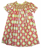 Zuccini Smocked Red and Green Quatrefoil Dress for Christmas