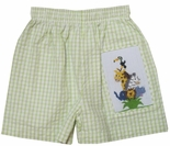 Zuccini Boy's Smocked Safari Wild Animals Swim Trunks.