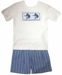 Zuccini Boy's Smocked Sword Fish Sail Fish Shorts Set.